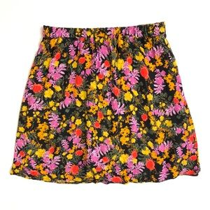 Anthropologie Ella Moss Black Floral Mini Skirt